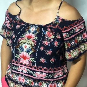 Navy Blue and floral patterned open shoulder top
